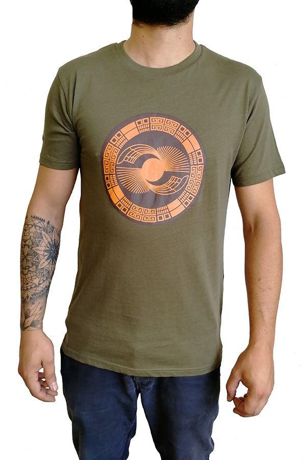 Tee-Shirt aux motifs Ethniques et Tribals pour Homme Larry Kaki 297556