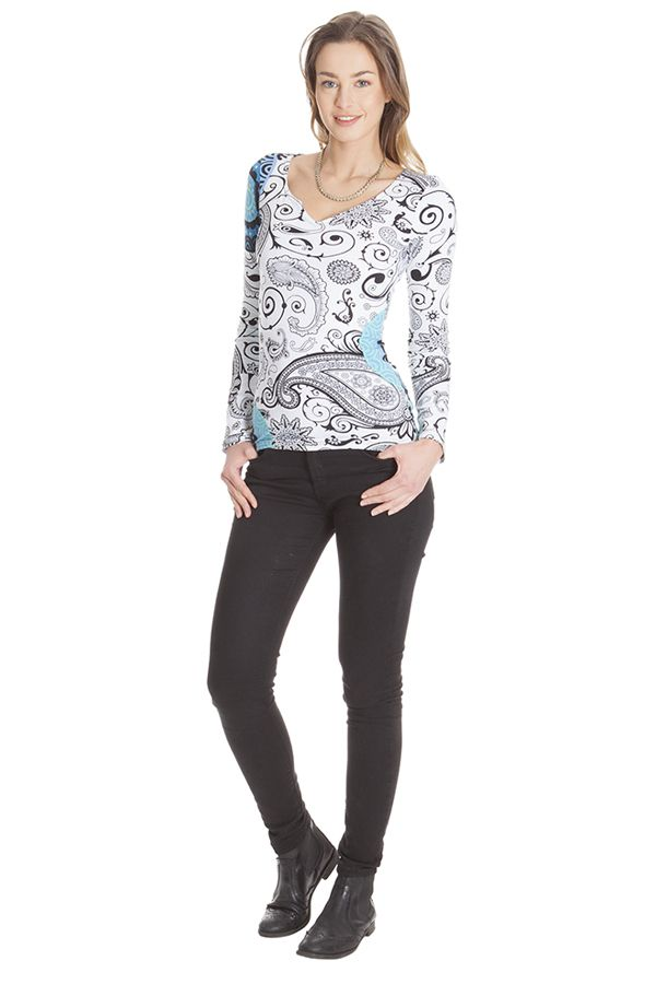 Tee shirt Blanc ethnique et chic pour femme à imprimés Elona 285598