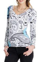 Tee shirt Blanc ethnique et chic pour femme à imprimés Elona 286804