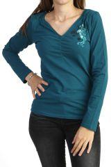 Tee-shirt bleu à manches longues original en jersey 287755