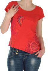 Tee-shirt Corail à manches courtes Original et Asymétrique David 283174
