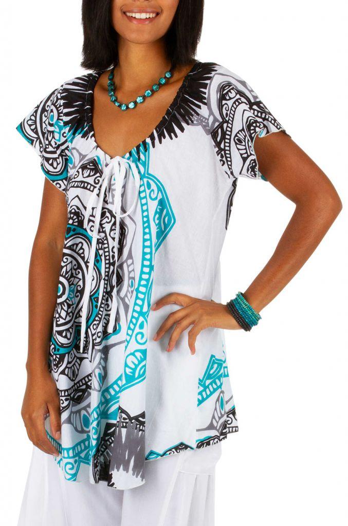 Tee-shirt de plage pour femme blanc avec un imprimé Karine 306230