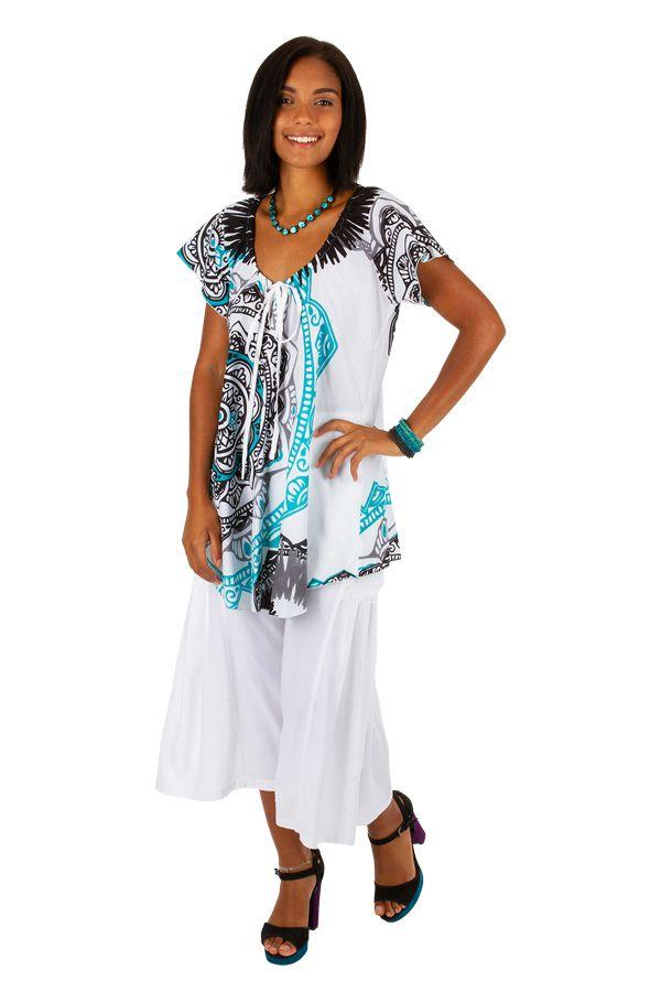 Tee-shirt de plage pour femme blanc avec un imprimé Karine 306231