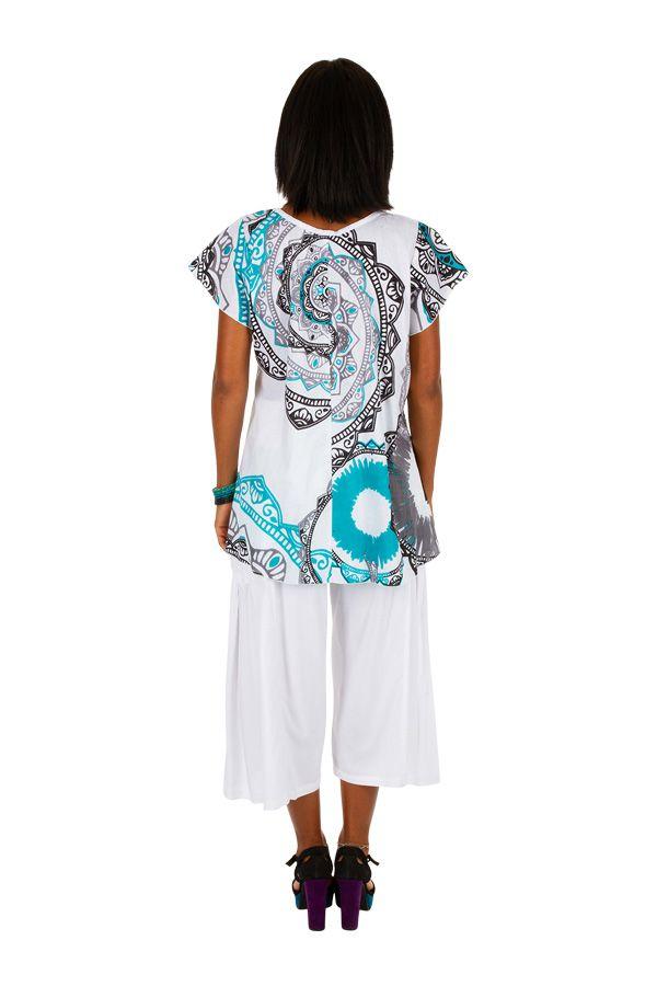 Tee-shirt de plage pour femme blanc avec un imprimé Karine 306232