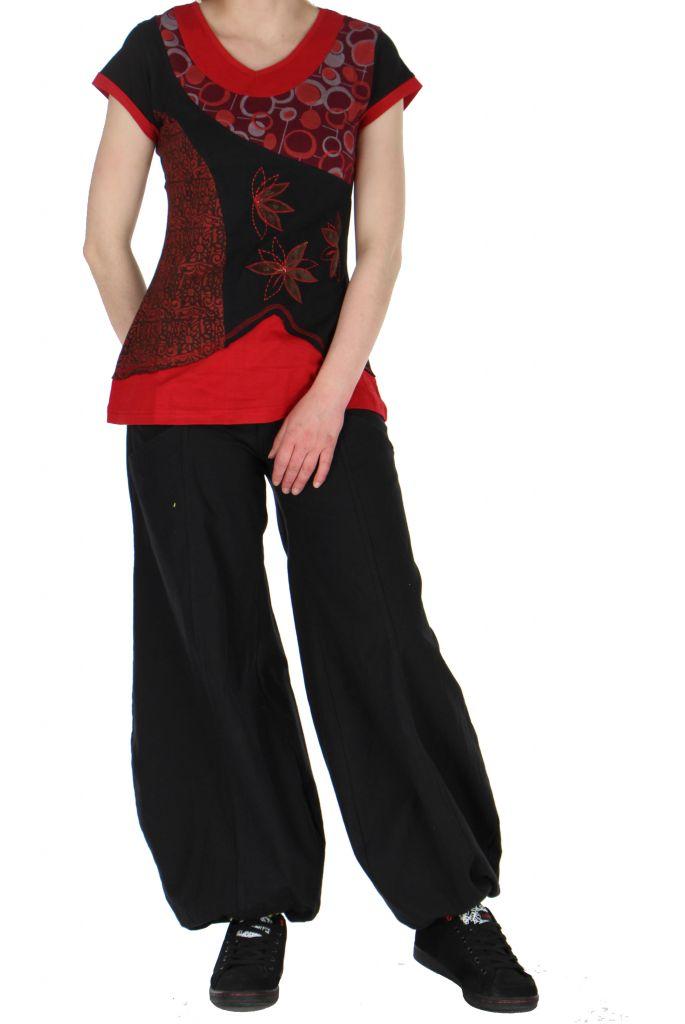 Tee-shirt du Népal abby col rouge 260909