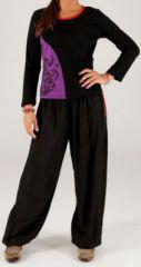 Tee-shirt ethnique à manches longues noir et violet Fulia 274252