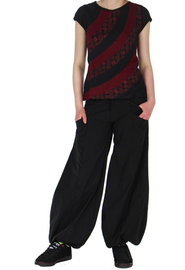 Tee-shirt ethnique chic cheima noir 260926