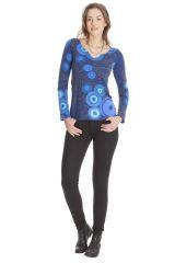 Tee shirt Ethnique et Chic pour femme à imprimés Elona Bleu 285600