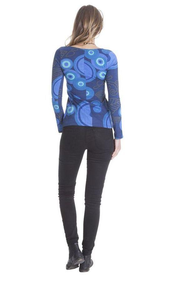 Tee shirt Ethnique et Chic pour femme à imprimés Elona Bleu 285601