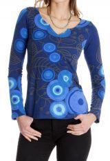 Tee shirt Ethnique et Chic pour femme à imprimés Elona Bleu 286660
