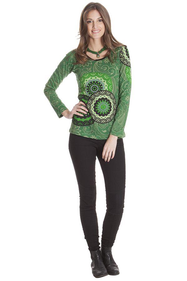 Tee shirt ethnique femme original avec imprimé Chloris 285593