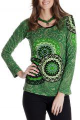 Tee shirt ethnique femme original avec imprimé Chloris 286808
