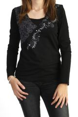 Tee-shirt ethnique noir à manches longues 287746