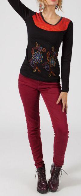 Tee-shirt femme à manches longues baba cool noir et rouge Clavis