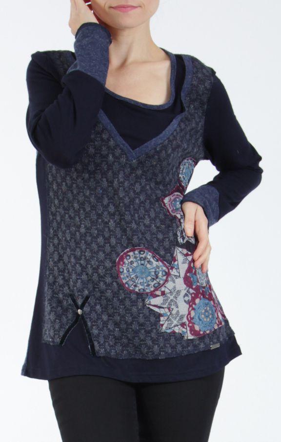 Tee-shirt femme à manches longues bleu imprimé original Withney 304871