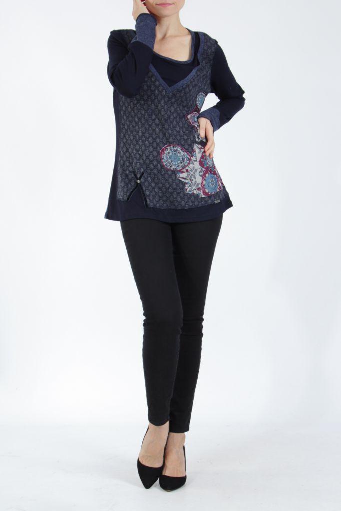 Tee-shirt femme à manches longues bleu imprimé original Withney 304872