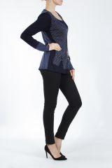 Tee-shirt femme à manches longues bleu imprimé original Withney 304873