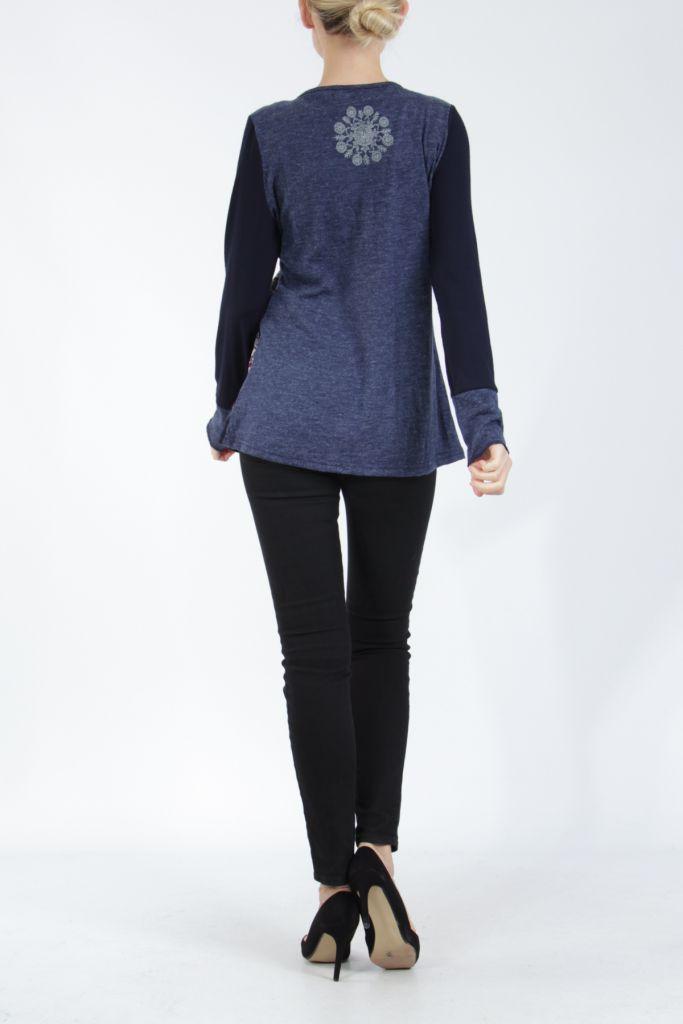 Tee-shirt femme à manches longues bleu imprimé original Withney 304874