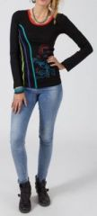 Tee-shirt femme à manches longues ethnique chic de couleur noir Carmeline