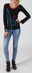 Tee-shirt femme à manches longues ethnique chic de couleur noir Carmeline 273811
