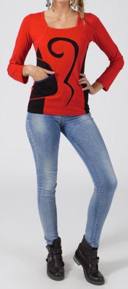 Tee-shirt femme à manches longues ethnique de couleur rouge Amalia 273806