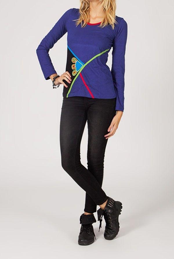 Tee-shirt femme à manches longues ethnique et original Cléa 318823