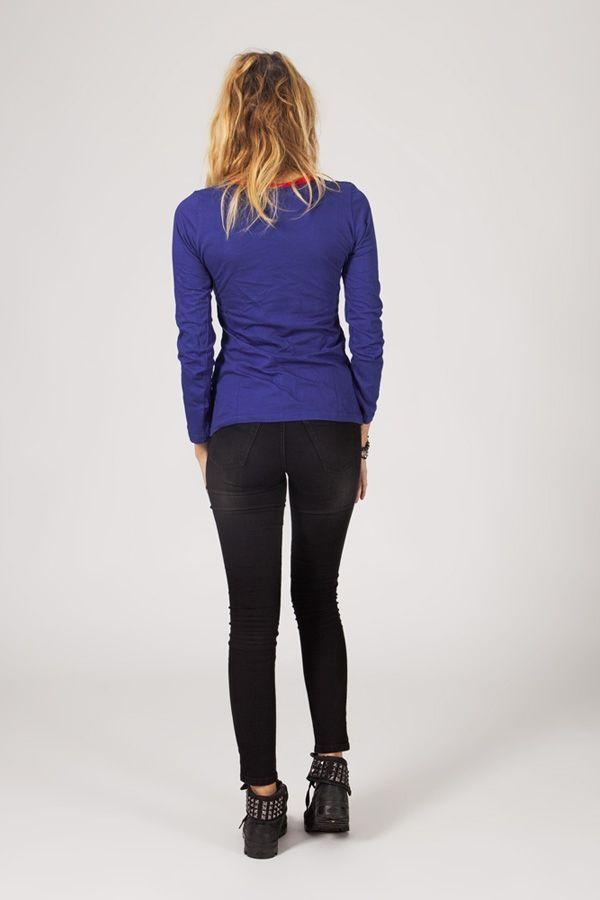 Tee-shirt femme à manches longues ethnique et original Cléa 318824
