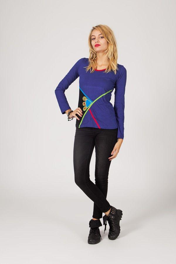 Tee-shirt femme à manches longues ethnique et original Cléa 318825