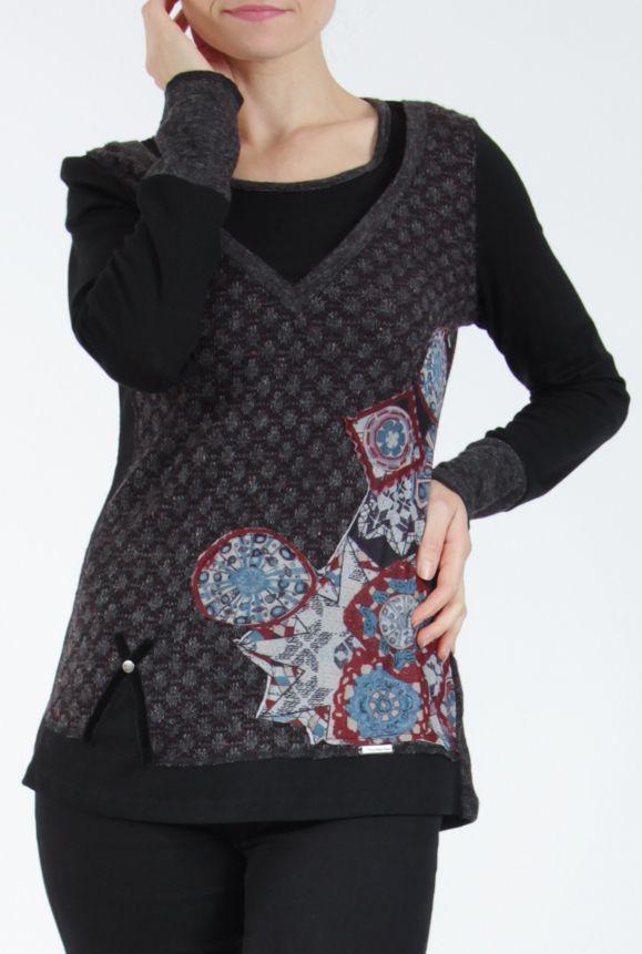 Tee-shirt femme à manches longues noir imprimé original Withney 304889