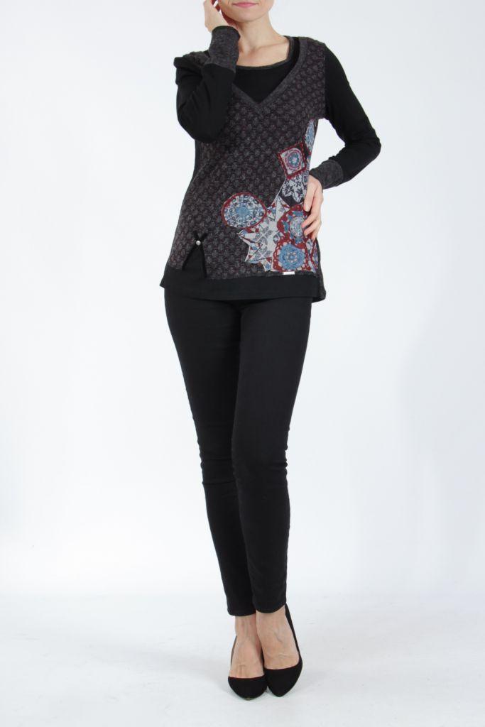 Tee-shirt femme à manches longues noir imprimé original Withney 304890