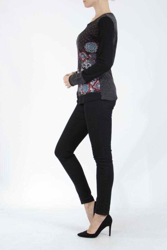 Tee-shirt femme à manches longues noir imprimé original Withney 304891