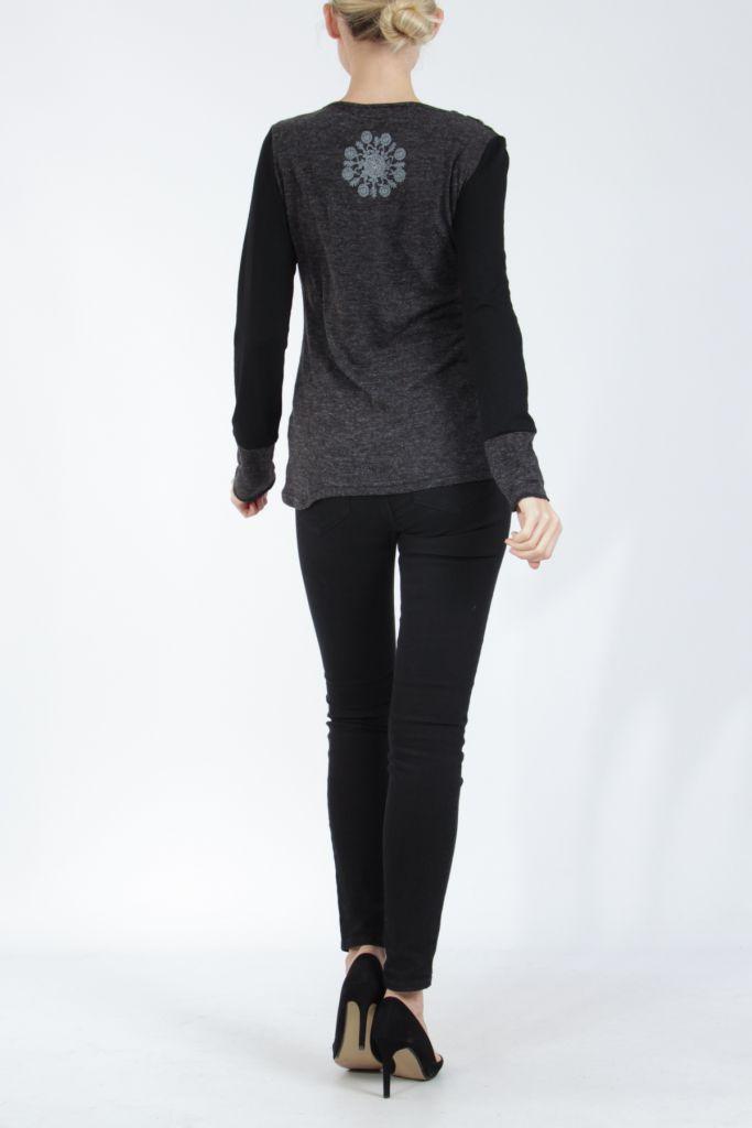 Tee-shirt femme à manches longues noir imprimé original Withney 304892