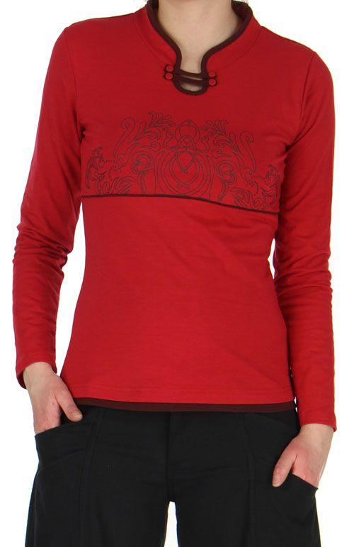 tee shirt femme a manches longues original a motifs tribals jim rouge. Black Bedroom Furniture Sets. Home Design Ideas