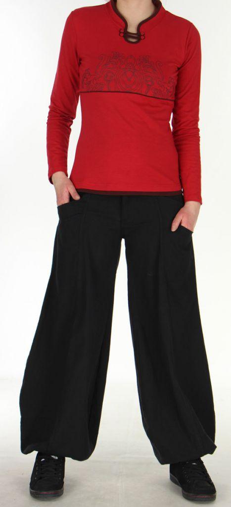 Tee-shirt Femme à manches longues Original à motifs Tribals Jim Rouge 279204