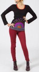 Tee-shirt femme à manches longues original de couleur noir Cedriny
