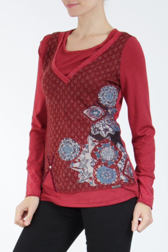Tee-shirt femme à manches longues rouge imprimé original Withney 304879
