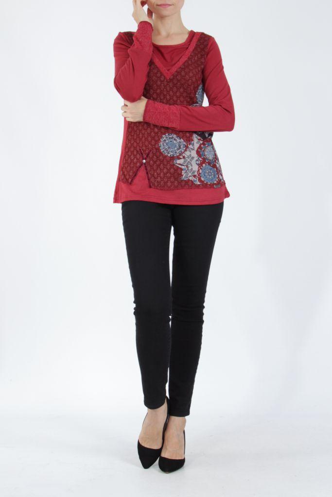 Tee-shirt femme à manches longues rouge imprimé original Withney 304880