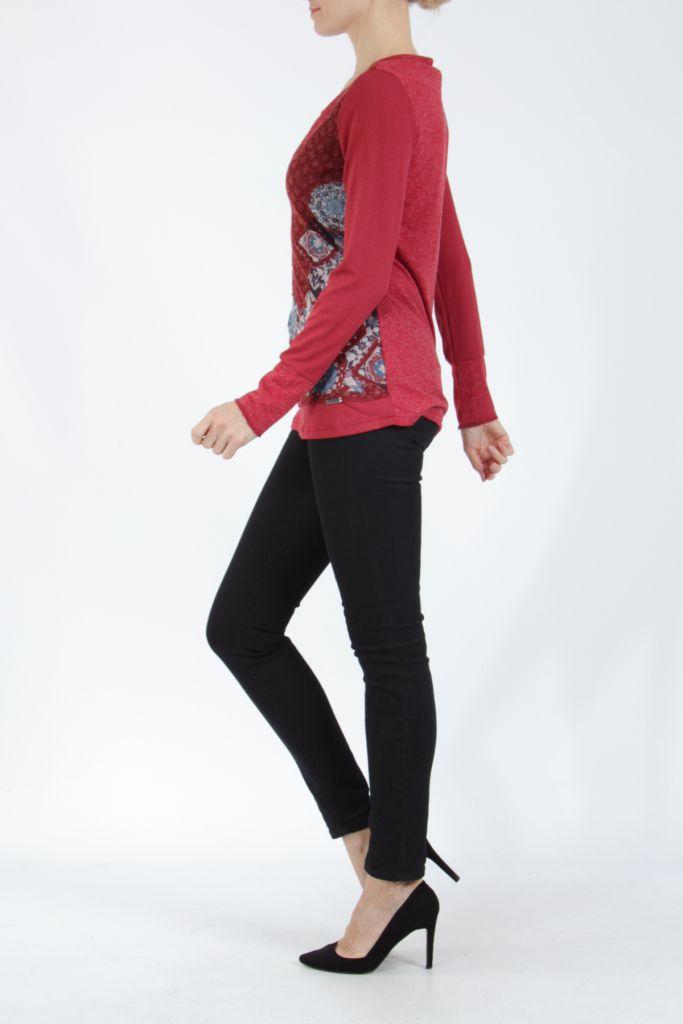 Tee-shirt femme à manches longues rouge imprimé original Withney 304881