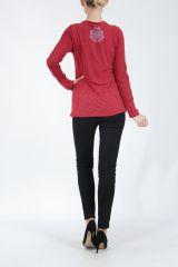 Tee-shirt femme à manches longues rouge imprimé original Withney 304882