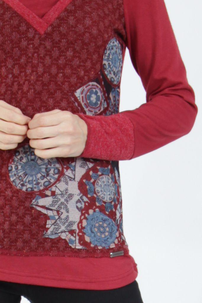 Tee-shirt femme à manches longues rouge imprimé original Withney 304883
