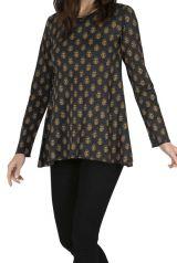 Tee-shirt femme ample chic noir imprimé gold Mantano