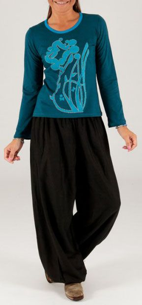 Tee-shirt femme bleu à manches longues baba cool Bachra 274184