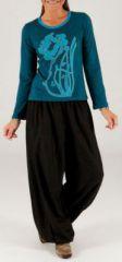 Tee-shirt femme bleu à manches longues baba cool Bachra