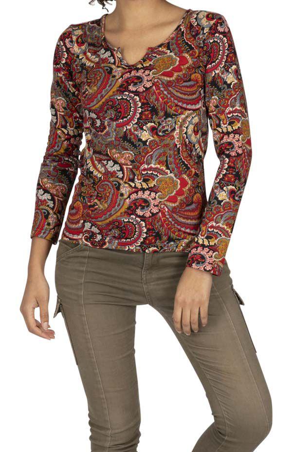 Tee-shirt femme col tunisien aux imprimés colorés Magaria