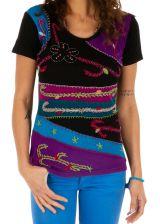 Tee shirt femme ethnique coloré pas cher broderie original Delta 314164