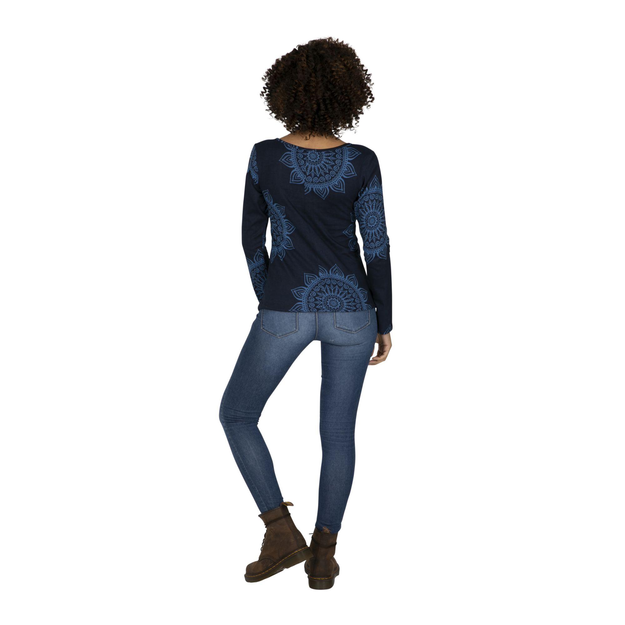 Tee-shirt femme ethnique imprimé mandalas bleu Dosso