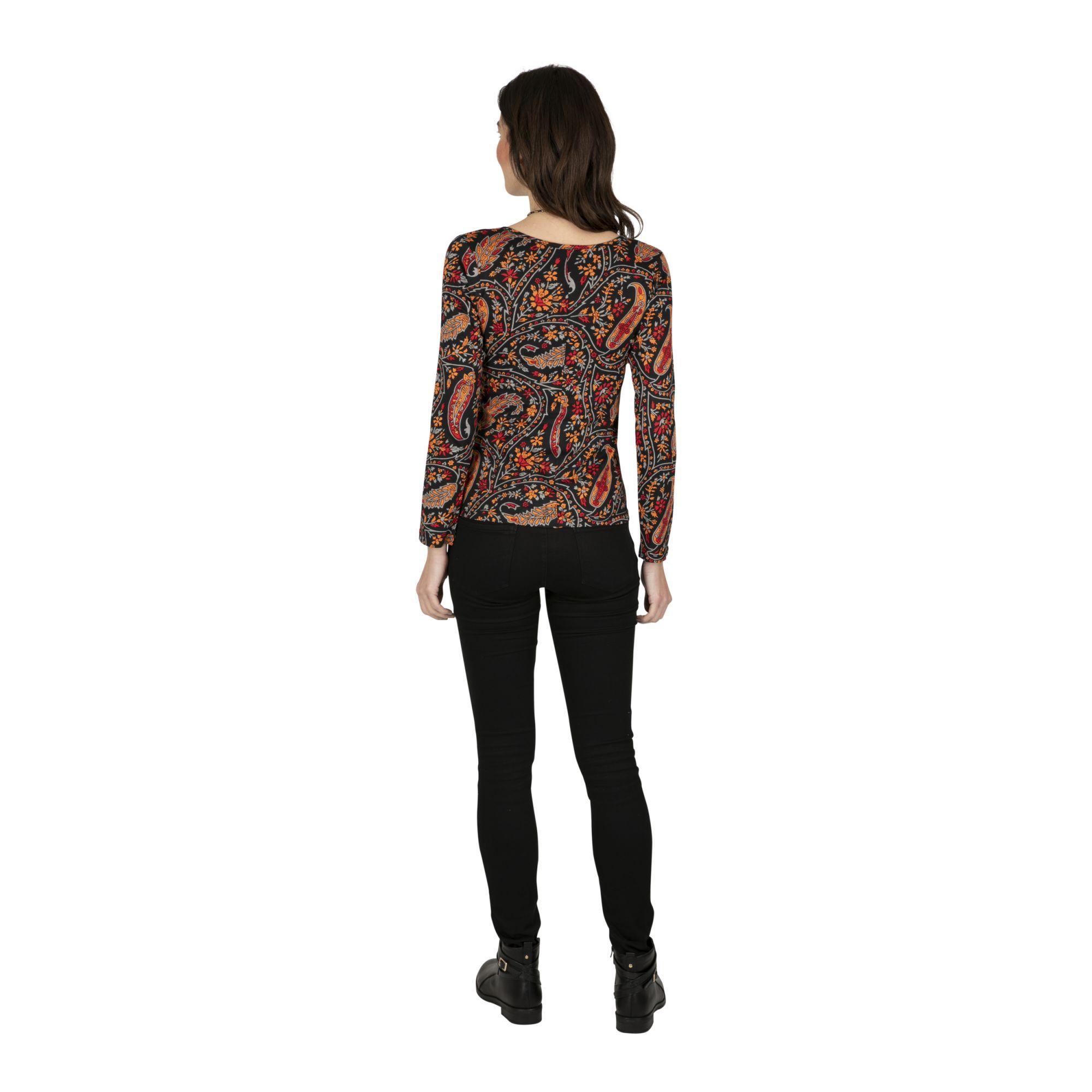 Tee-shirt femme hiver noir imprimé bohème Dakoro