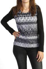 Tee-shirt femme imprimé en noir et blanc 287749