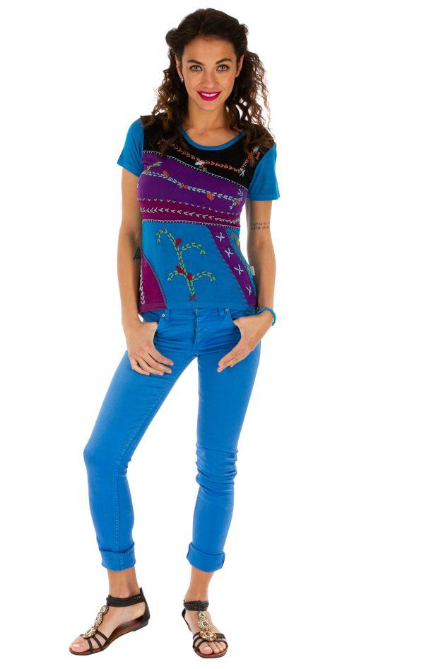 Tee-shirt femme imprimé ethnique et coloré Dessouk bleu 314209