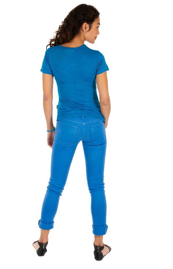 Tee-shirt femme imprimé ethnique et coloré Dessouk bleu 314210